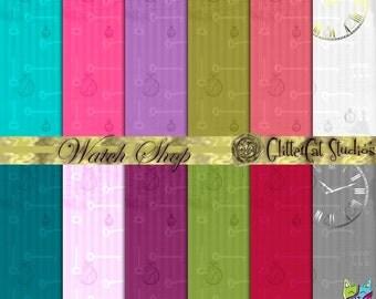 "Watch Shop 8.5"" x 11"" digital download scrapbook printable paper gold silver foil watch skeleton keys bright vivid colourful journal papers"