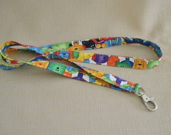 Colorful cats and dogs - handmade fabric lanyard - HALF INCH WIDE