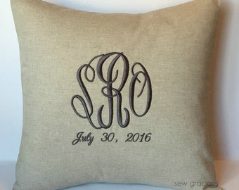 Wedding Monogram Decorative Pillow Cover with Date. 18 x 18 Wedding Day Decor. Modern Bridal Gift. 2nd Anniversary. Silver. Farmhouse Decor
