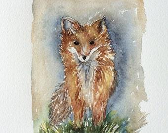 Fox - Original Watercolor on 11 x 14