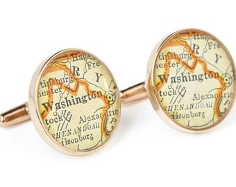 Washington DC Map Cufflinks Solid Golden Bronze Heirloom Cast One Piece Antique District of Columbia Atlas