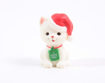 Hallmark Merry Miniatures Russ Berrie Figure Christmas Cat with Santa Hat White