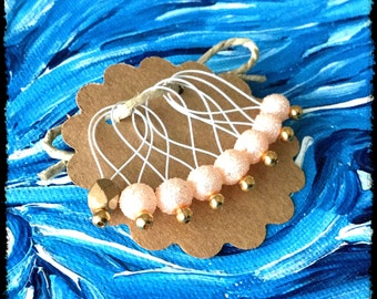 Snag Free Stitch Markers Large Set of 8 - Peach Textured Glass Pearls - N9 - Fits up to size US 17 (12.75) Knitting Needle