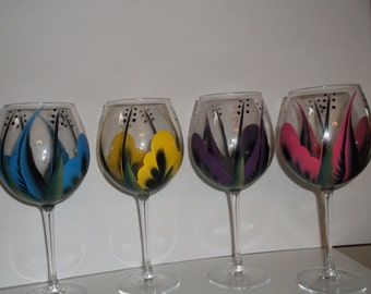 Hand painted Wine\/goblet glasses, Multi Color