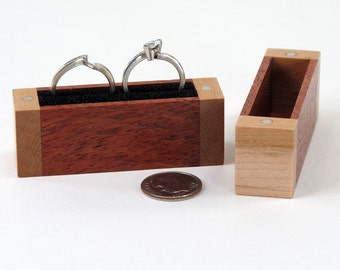Birds Eye Maple and Mahogany Wood Wedding Ring Box, Engagement Ring Box, Proposal Ring Box, Ring Bearer Pillow