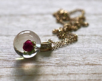 Necklace with Wild Rose and Zirconia, Gold Plated Sterling Silver Pendant, Resin Jewelry