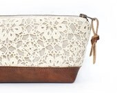 Lace Clutch. Leather Clutch Bag. Makeup Bag. Travel Bag. Wedding Gift. Bridesmaid Gift. Leather Handbag. Cosmetic Case. Zippered Pouch. Bag.