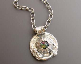 Sterling Silver Mermaid and Sea Urchin Necklace with Dichroic Glass Center - Small