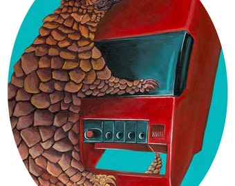"Digital Print 10.75 x 13.5"" Oval image on on card stock made from original Artwork of a Pangolin with a vintage red cassette player"