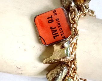 Monopoly Vintage  Tokens Charm Bracelet gold edition upcycled boho  go to jail image