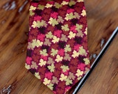 Boys Necktie -Red, gold, pink leaves on burgundy cotton necktie, fall leaf necktie, thanksgiving necktie, infant baby toddler child preteen