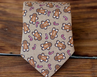 Boys Cotton Necktie - Christmas Gingerbread Men and Candy Canes brown  - Pre-tied, Adjustable tie - Baby Infant Toddler Child Boys Necktie
