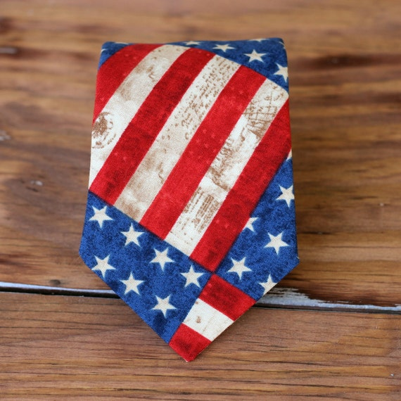 USA flag boys necktie - American flag cotton neckties - baby, infant, toddler, child neck tie - stars and stripes ties - Independence Day