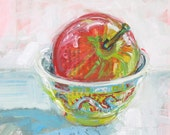 Apple in a Chinese Cup original acrylic still life painting by Polly Jones