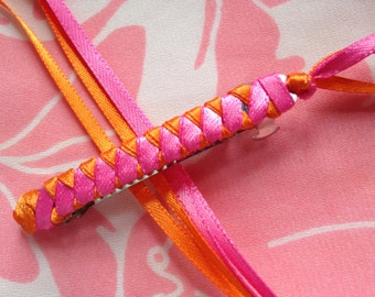 Braided Ribbon Barrette / Hot Pink and Orange