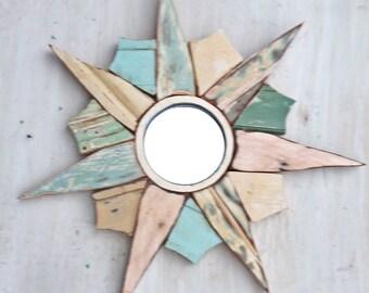 Sunburst Mirror Reclaimed Wood Mirror, Coastal Mirror, Starburst Mirror, Sun Burst Mirror, Reclaimed Wood Wall Art, Boho Home Decor