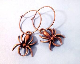 Spider Earrings, Elegant Arachnids, Brass Spiders and Hoop Earrings, Free Shipping U.S.