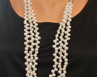 Natural Freshwater Dancing Pearls Long Triple Strand Necklace and Silver Chain