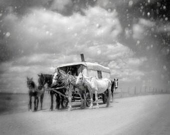Vintage Gypsy Caravan Printable Art Horses Black and White Photo Instant Download Digital Graphics Commercial Use