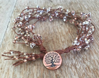 Twig Tree of Life  Waxed Irish Linen Bracelet