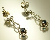Estate/ vintage 1980s small sterling silver 925 and sapphire drop earrings - jewelry / jewellery