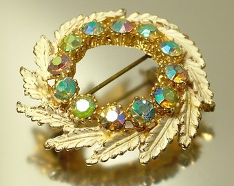 Vintage, estate 1950s/ 60s glam gold plated & aurora borealis/ rhinestone/ paste, leaf costume brooch / pin - jewelry jewellery