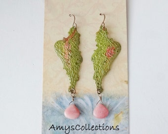 Candy Jade Gemstones Hand-painted Mythical Wing Earrings