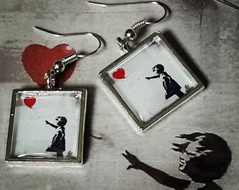 Girl with a Red Balloon.... Banksy Earrings