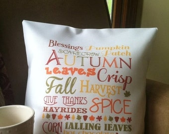 ON SALE autumn word art throw pillow, cushion cover