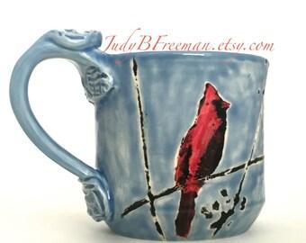 Ceramic Mug Cardinal Bird Handmade Handpainted On Sky Blue 12 Ounces MG001 Made To Order