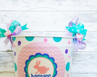 ON SALE custom 10 QUART bucket with Easter bunny with pinks, lavender and aqua
