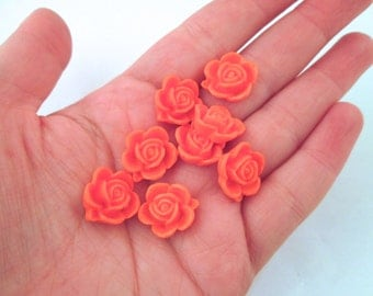 10 15mm Dark Orange Rose Cabochons
