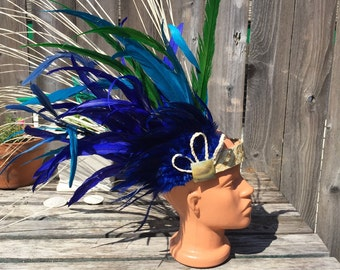 Small side headpiece with ni'au -Tahitian costume, girl, light weight and comfortable, you choose colors, Polynesian dance