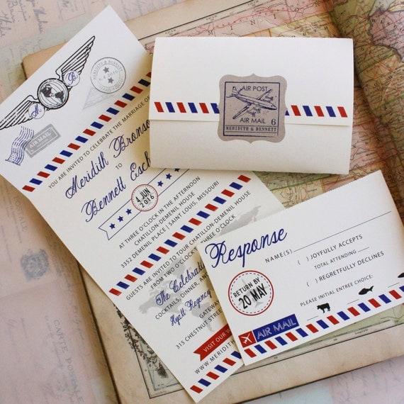 air mail seal and send wedding invitation design fee