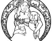 Downloadable coloring page Companions pets art nouveau bird cat dog