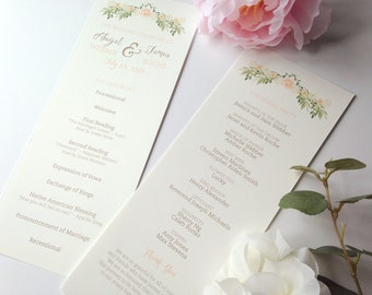 Vintage Inspired Romantic Wedding Ceremony Programs