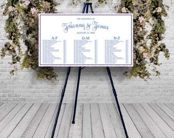 Damask Border Elegant Wedding Reception Guest Seating Chart