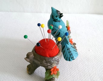 Vintage Blue Jay and Nest Pin Cushion