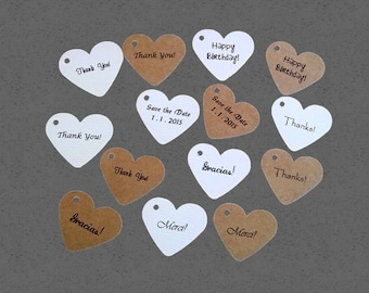 personalized heart tags, favor tags, wedding favors, product labels - 1 1/2 inch set of 100