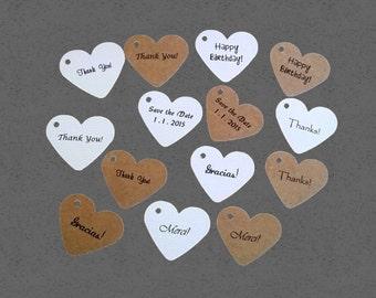 Heart Tags, Printed Tags, Set of 100, Wedding Favor, Wedding Tag, Price Tag