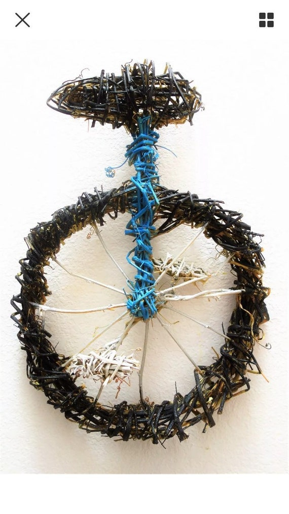 """Unicycle Wall Art Made from Passion Fruit Vines by Katie Rabbit Nowaczyk (12""""x17""""x2"""")"""