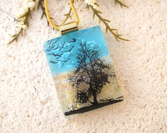 Tree & Birds, Tree Necklace, Dichroic Jewelry, Fused Glass Jewelry,Silver Chain, Dichroic Necklace, Tree in Park, Tree Jewelry,  061216p115