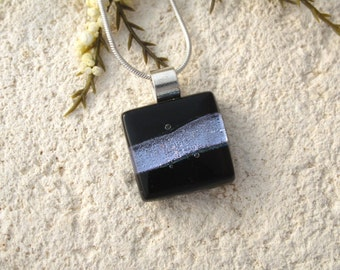 Very Petite Silver & Black Necklace, Fused Glass Jewelry, Dichroic Pendant, Dichroic Jewelry, Black Silver Pendant, Silver Chain, 121215p109