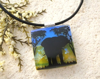 Elephant Necklace, Elephant Jewelry, Dichroic Jewelry, Fused Glass Pendant, Fused Glass Jewelry,Safari Jungle, Glass Necklace, 121215p111