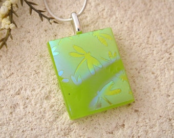 Dragonfly Necklace, Nature Jewelry, Lime Green, Dichroic Fused Glass Jewelry, Fused Glass Pendant, Dichroic Necklace, Silver, 020116p101