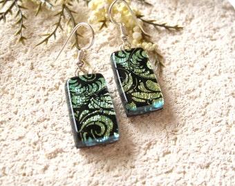 Golden Green Earrings, Dangle Drop Earrings, Dichroic Earrings, Fused Glass Jewelry, Green Earrings, Dichroic Jewely, Sterling,  020816e102