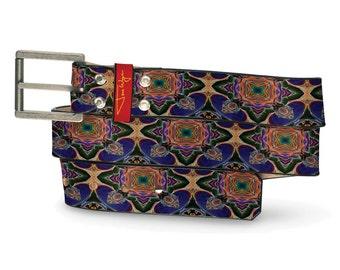 Bizarro Spiritual Alchmey Leather Belt, Multi-Colored Leather Belt, Graphic Leather Belt