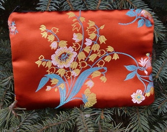Asian make up bag, makeup case, accessory bag, zippered pouch, zippered bag, Asian Floral on Orange, The Scooter