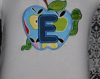 Back To School Worm Apple Alphabet initial shirt Custom 12m-14 years