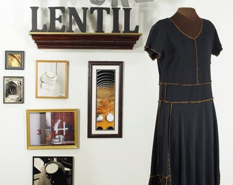 black and mustard gold upcycled dress